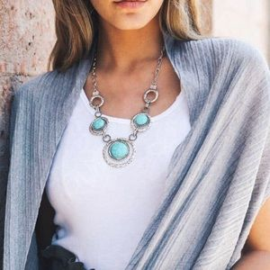 Tri-Link Turquoise and Silver Statement Necklace